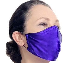 Silk Face Mask with Nose Wire and Filter Pocket - Satin Face Mask for Sensitive Skin - Teacher Face Mask - Reusable Face Mask Covermask
