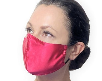 Pink Silk Face Mask with Nose Wire and Filter Pocket - Satin Face Mask for Sensitive Skin - Teacher Face Mask - Reusable Face Mask Covermask