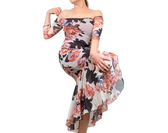 Tango Dress - Off shoulder dress - Cinnamon Rose mermaid dress - Mesh dress for milonga - Ballroom dance dress