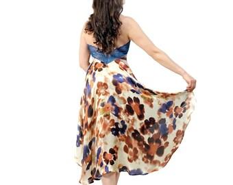 Tango dress - Argentine tango high low dress - Coffee and cream silk halter dress - Backless dress for milonga - Satin dress with open back