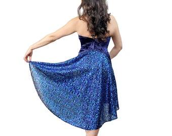 Tango dress - Backless velvet dress with sequin tail - Blue mermaid open back halter dress - Ballroom dance dress - High low Argentine dress