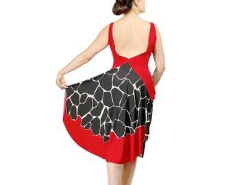 Tango dress - Argentine tango backless dress - Abstract high low dress - Open back dress for milonga - Wedding guest dress - Two piece set