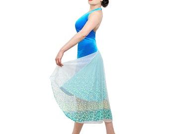 Tango dress - Turquoise velvet and sequin backless dress - Milonga halter dress, ballroom dance dress - Wedding guest dress - Tango clothes