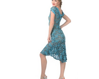 33672707d9 Light blue lace Argentine tango dress with low back and cap sleeves.  Ballroom dance dress with mermaid skirt. Pinup girl wiggle dress.