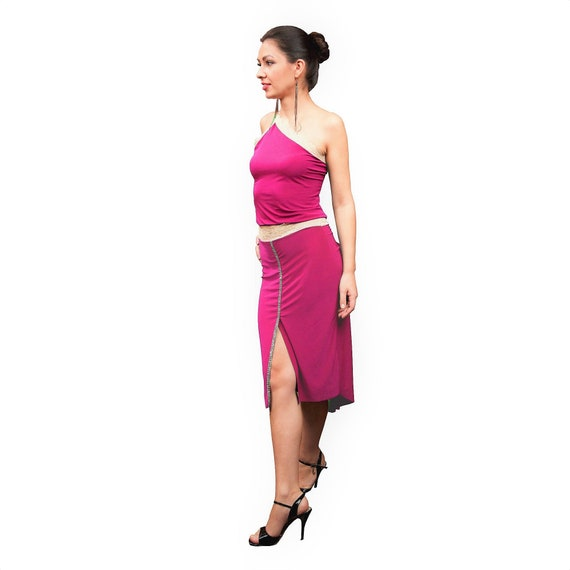 506ee384355 Pink Argentine tango slit skirt with tail. Sexy tight midi