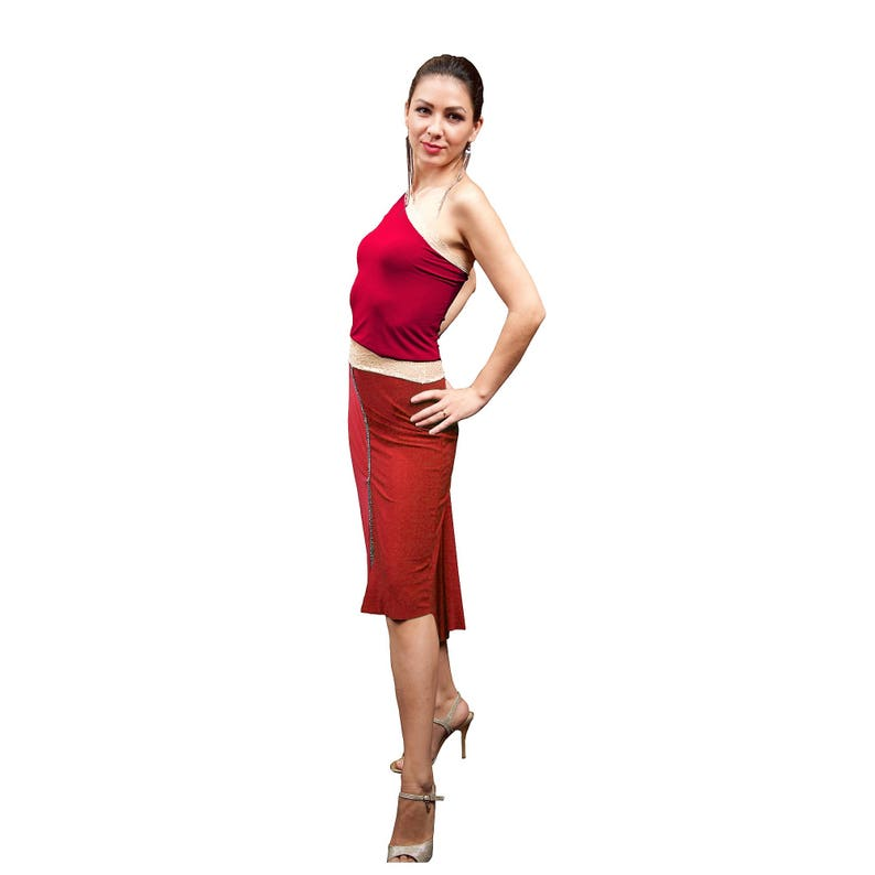 213ce8dd85588 Red Argentine tango crop top. One shoulder bandeau tube top