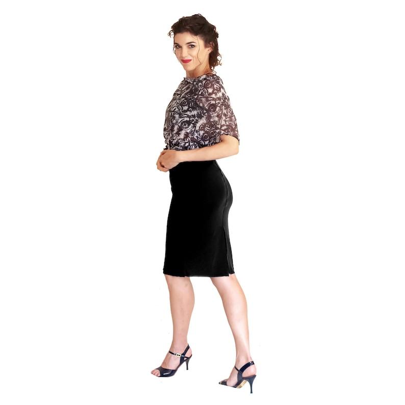 63b38ff619 Black Argentine tango skirt with back slit. High waisted