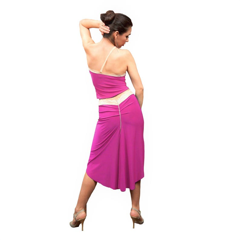 5b714c7df0df9 Pink Argentine tango crop top. One shoulder bandeau tube top