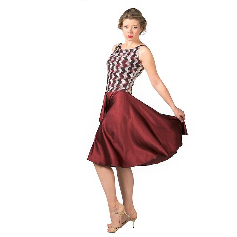 edc7efcff5a35 Burgundy shimmer Argentine tango dress.Signature hour-glass   Etsy