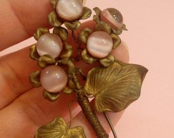 Vintage Antique Art Nouveau pink glass flower brooch floral leaves handmade 1910's