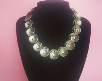 Vintage 60s collier necklace silver tone Swirls motif