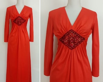 582032ffb27 Vintage 70s Red Disco Dress Sequinned party dress size S