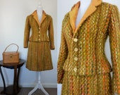 1960s Harrods London suit tweed mohair wool Suit jacket skirt fall winter Chanel style suit size S