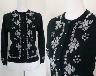 de18454c18 Vintage 50s Beaded Angora Cardigan rockabilly cardigan size S M
