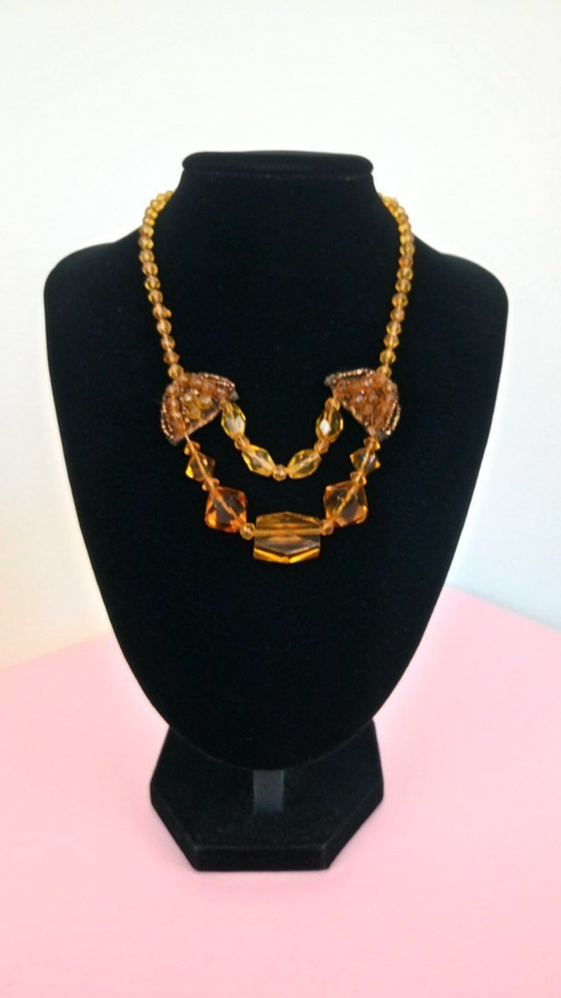 Vintage yellow amber crystal glass necklaceart deco necklaceflapper necklace