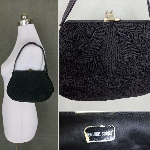 Vintage 30s black genuine corde handbag/art deco b