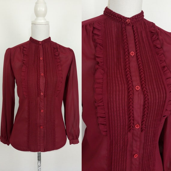Vintage 40s style burgundy blouse/frilled shirt/si