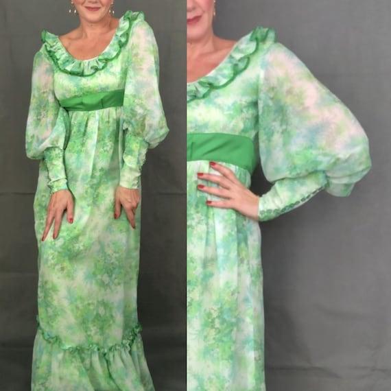 Vintage 60s maxi party green dress/1960s hostess d