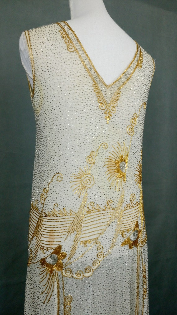 1920s Flapper Beaded Dress Made in France - image 6