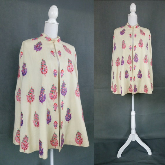 Vintage 40s wool embroidered cape/paisley motif e… - image 1