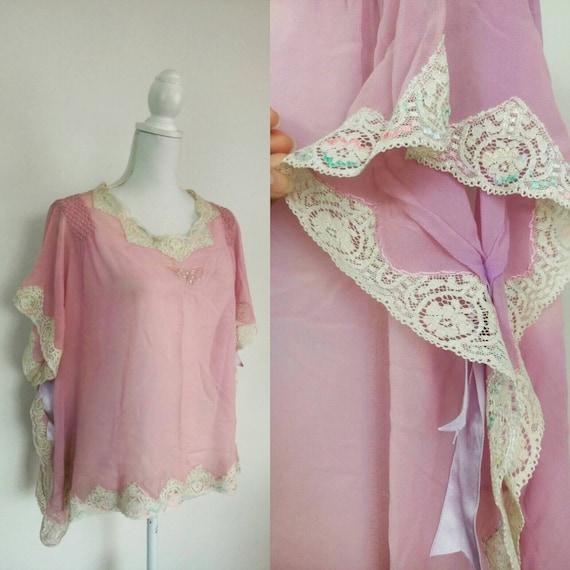 Vintage 1930s Silk Satin Lace Lilac top/30s linger