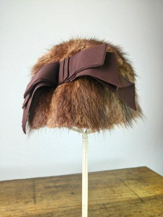 Vintage 60s Mink fur hat cloche hat