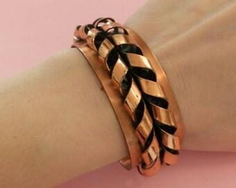 Vintage copper signed Renoir 1950's bangle cuff bracelet