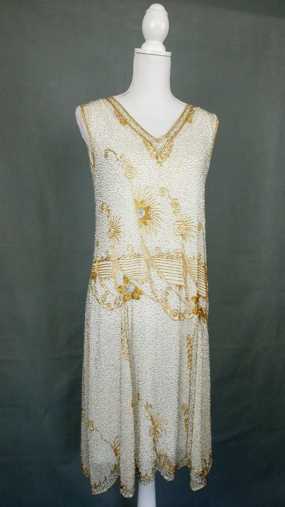1920s Flapper Beaded Dress Made in France - image 2