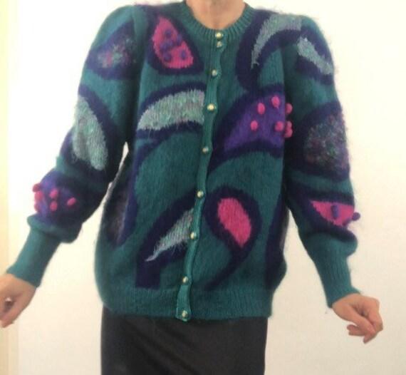 80s mohair colourful cardigan