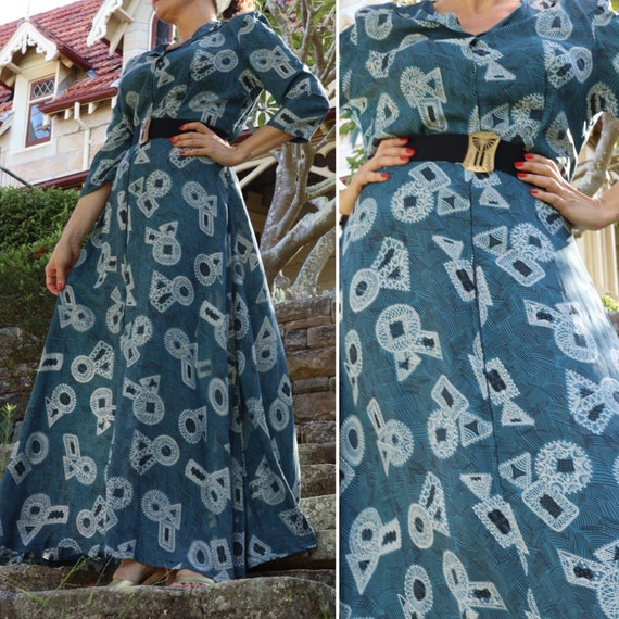 Vintage 40s blue abstract novelty print cold rayon