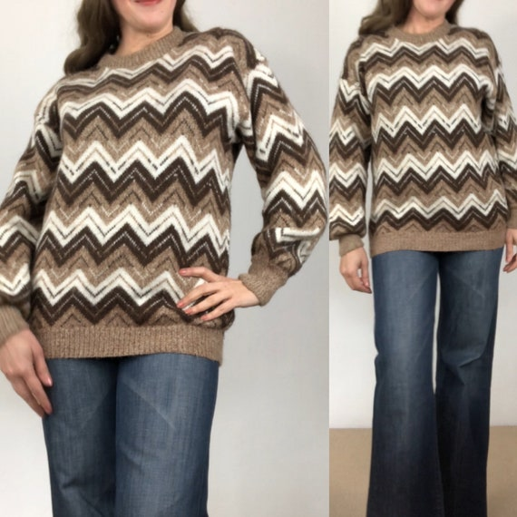 Vintage alpaca sweater/chevron jumper/chunky knit