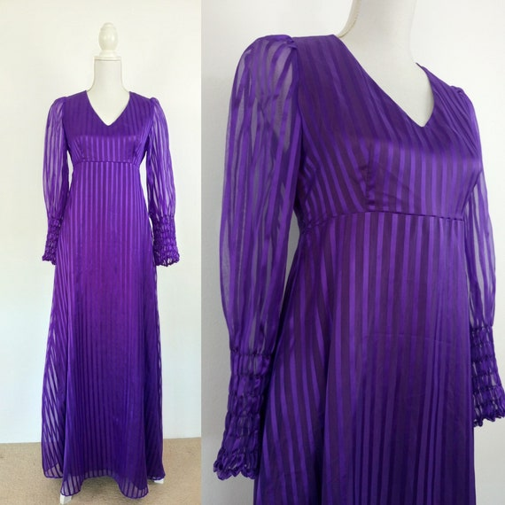 Vintage 70s purple stripes maxi dress/1960s/70s ho