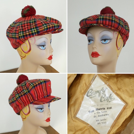 Vintage Scottish Red tartan beret by Tom Morris