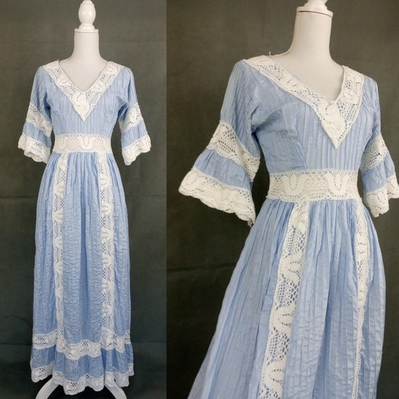 Vintage 70s Mexican Wedding Dress/1970s Prairie Dr