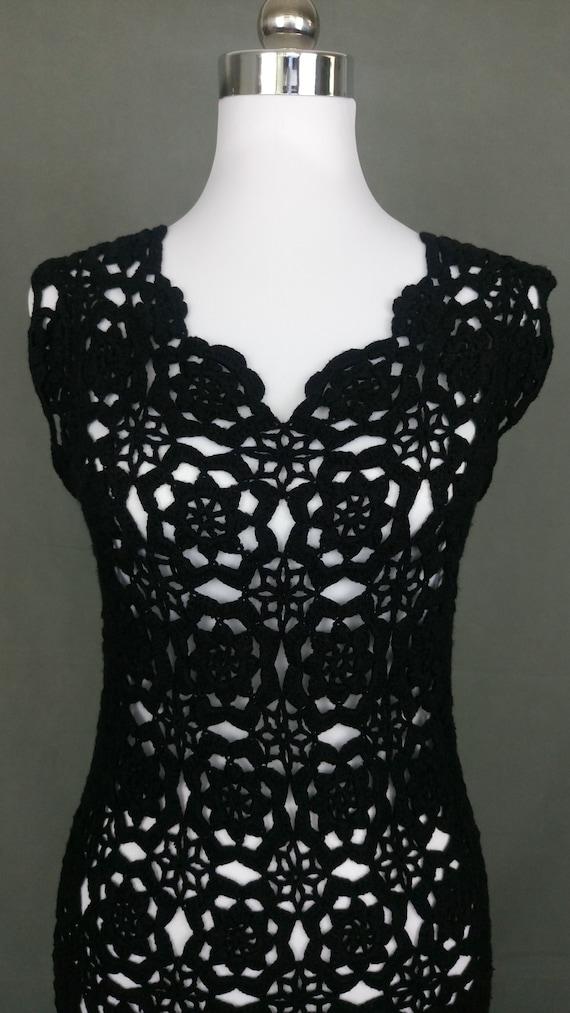 Vintage 70s Black cotton Crochet dress/size S/M - image 4
