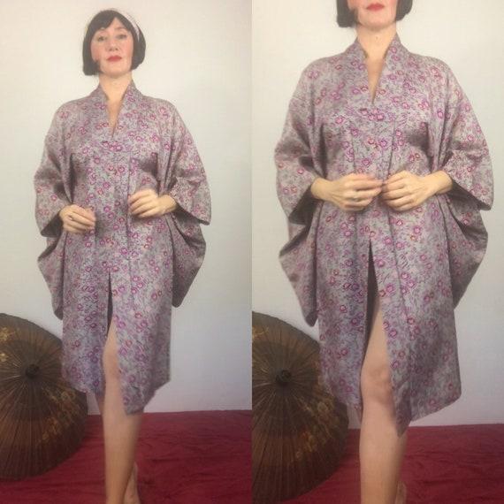 Vintage floral Silk Japanese Haori Kimono jacket/A
