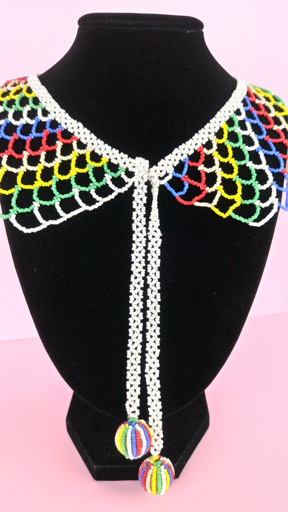 Vintage 1930s Beaded Collar necklace/lace collar - image 3