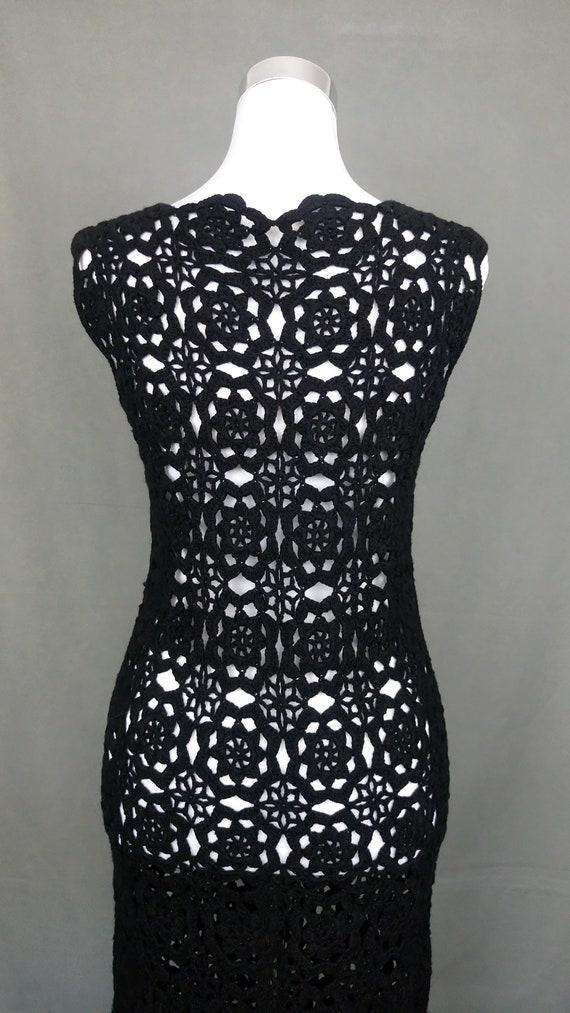 Vintage 70s Black cotton Crochet dress/size S/M - image 8