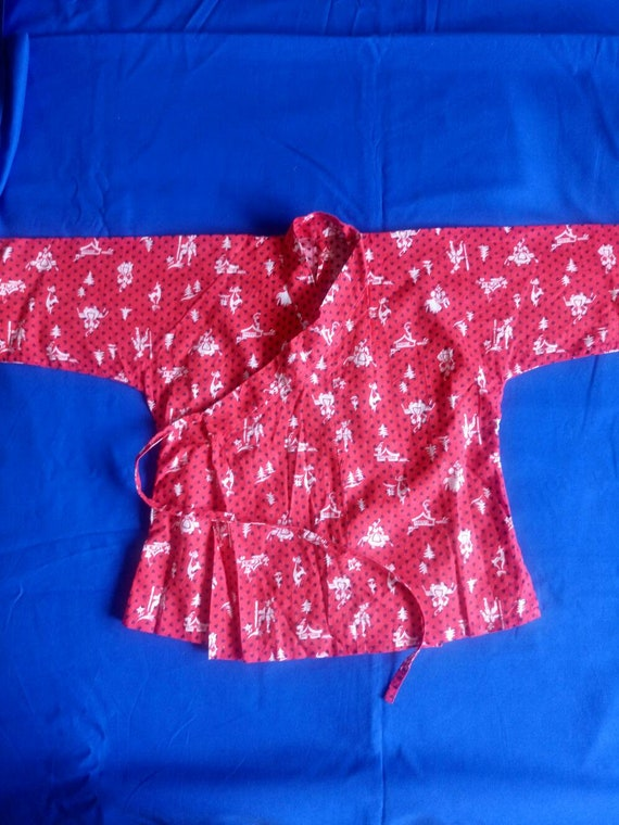 Vintage 1940s child toddler red Kimono jacket nove