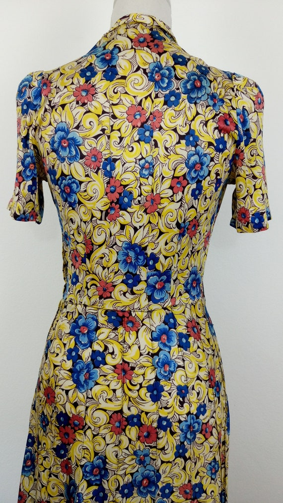 Vintage 1940s Floral Rayon Jersey Dress/size S - image 8