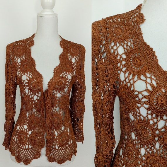 Vintage 70s does 30s copper crochet cardigan/knit