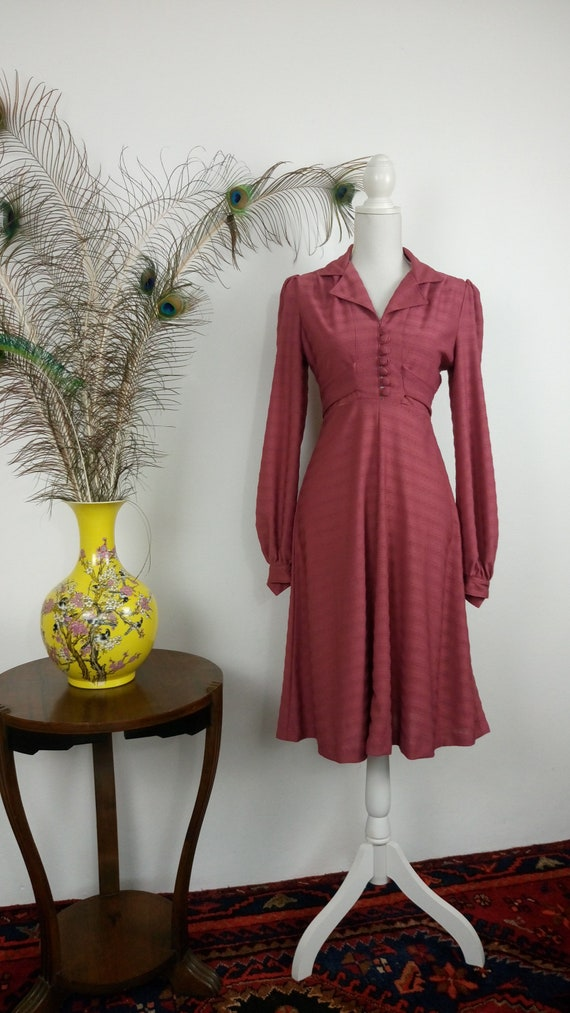 Vintage 70s does 30s Rose Dress/puffy sleeves dres