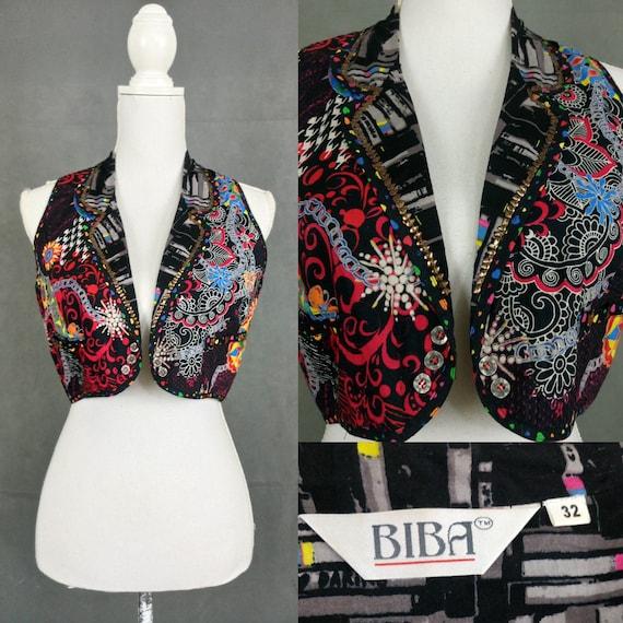 Vintage 80s Biba vest/colourful hippie style vest