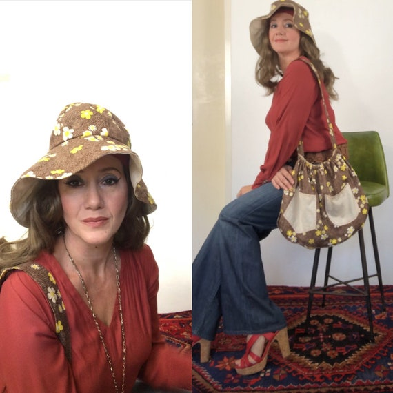 Vintage 70s Daisies floppy hat and matching bag by