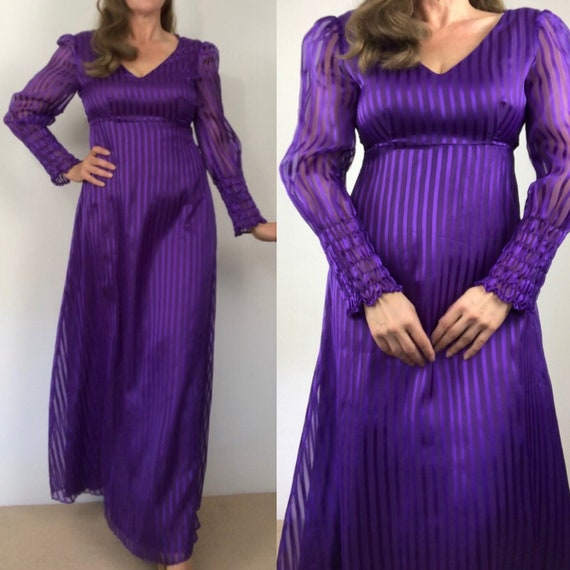 Vintage 70s purple stripes maxi dress/1960s/70s ho