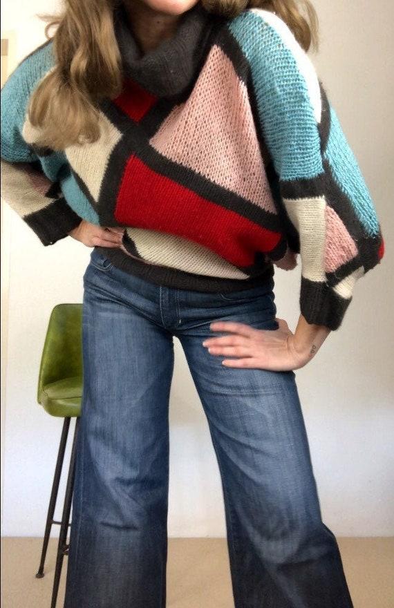 Vintage 80s color block knit jumper/handmade 80s k