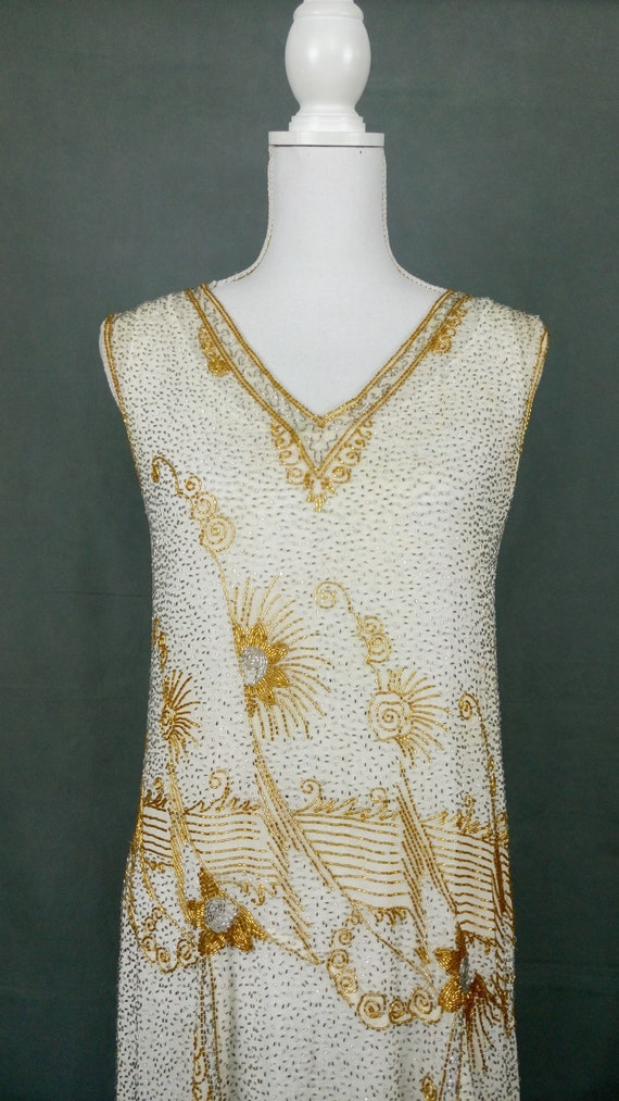 1920s Flapper Beaded Dress Made in France - image 4