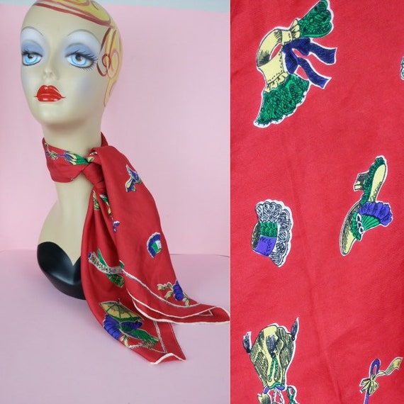 Vintage 40s red Novelty print silk scarf
