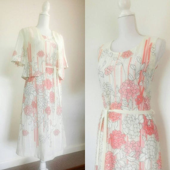 Vintage 70s Dress Bolero Pink floral set summer Dr
