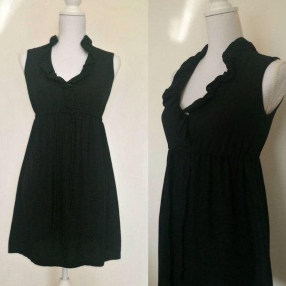 Vintage 60s black ruffle babydoll mini dress/gogo
